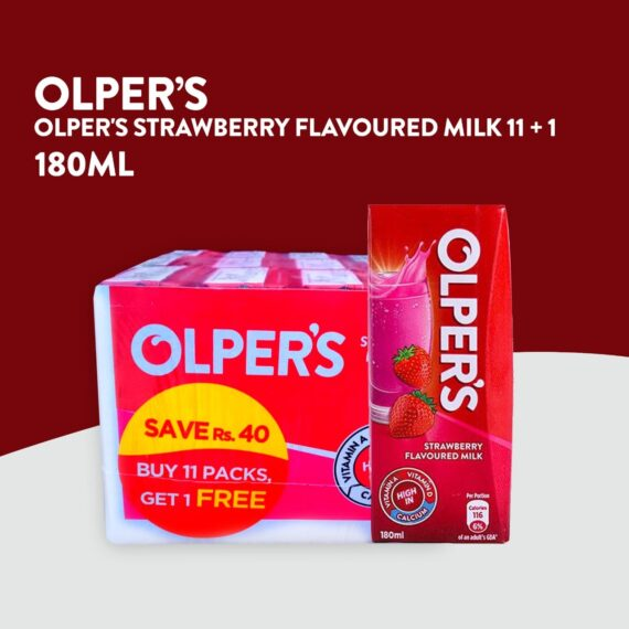 Olper`s Strawberry Flavored Milk 180ml Pack of 11 + 1