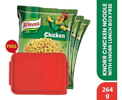 Pack of 3 Knorr Noodles Chicken Multipack 264gm get Free Lunch Box