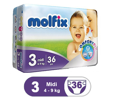 Order Molfix Baby Diaper Midi Twin Pack Size 3 (36 Pcs) Online At Best Price In Pakistan