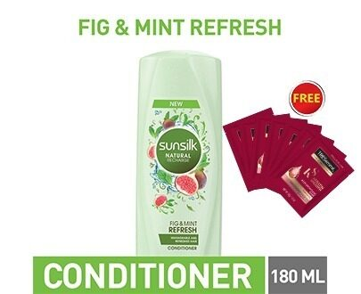 SUNSILK CONDITIONER REFRESH 180ML with 7 Free tresemme Shampoo Sachet